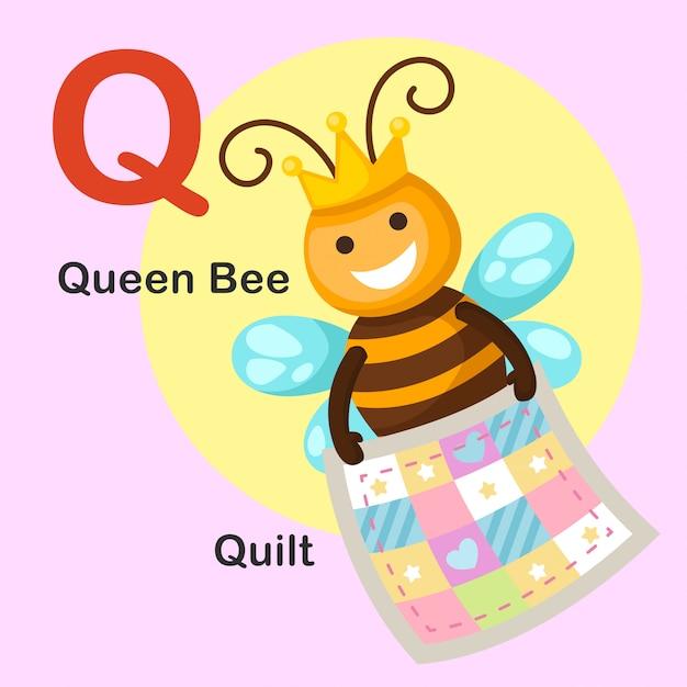 Illustration lokalisierter tieralphabet-buchstabe q-quilt, bienenkönigin Premium Vektoren