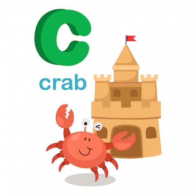 Illustration lokalisiertes alphabet-buchstabe c crab.vector Premium Vektoren