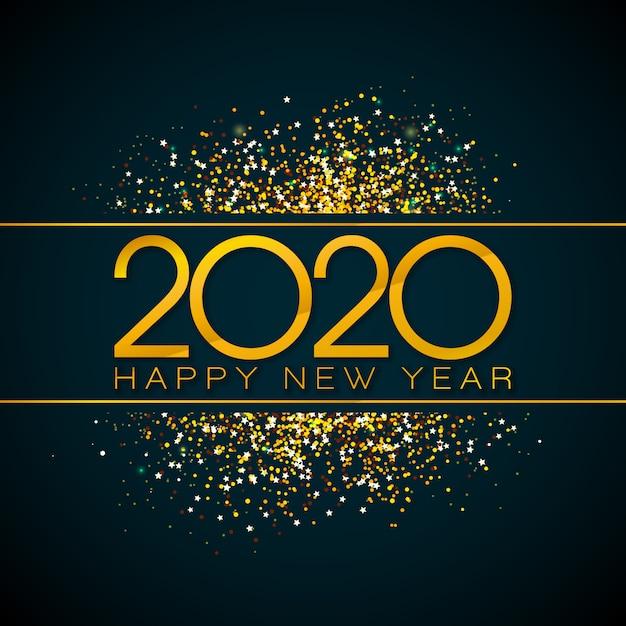 Illustration mit 2020 guten rutsch ins neue jahr mit goldzahl und fallenden konfettis auf schwarzem hintergrund. Kostenlosen Vektoren