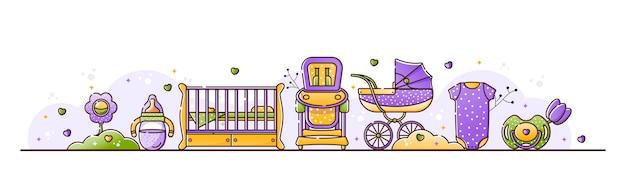Illustration mit babyzubehör Premium Vektoren
