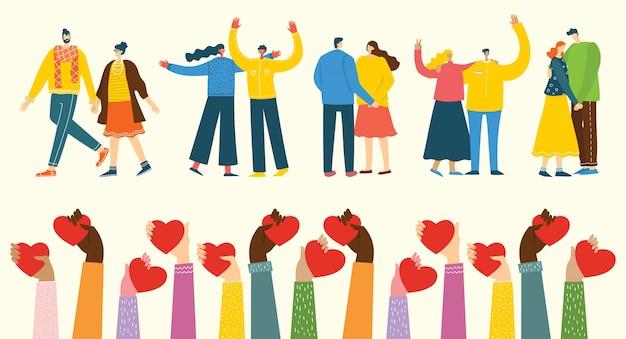 Illustration mit glücklichen karikaturpaaren in der liebe. glückliche liebhaber am date, umarmen, tanzen. konzept der valentinsgrußvektorillustration lokalisiert auf hellem hintergrund Premium Vektoren