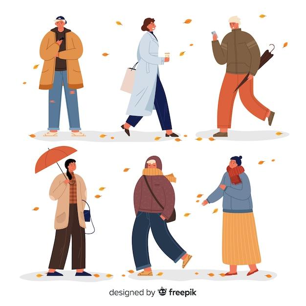 Illustration mit herbstkleidungsjahreszeit Kostenlosen Vektoren