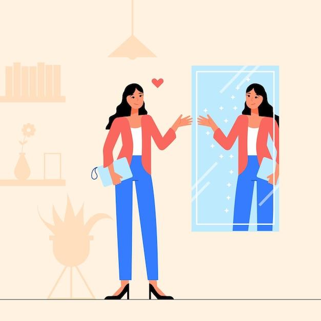 Illustration mit hohem selbstwertgefühl im flachen design Kostenlosen Vektoren