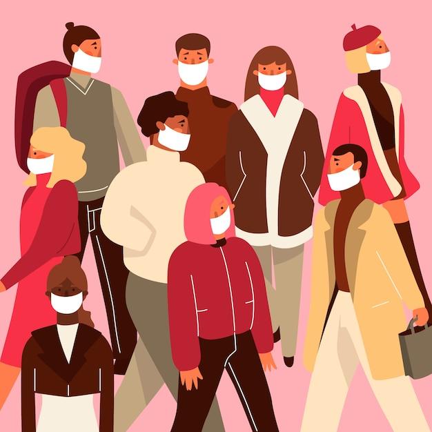 Illustration mit leuten, die medizinische maske tragen Kostenlosen Vektoren