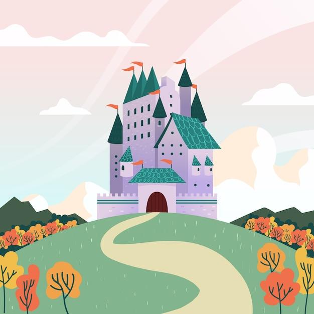 Illustration mit märchenschlosskonzept Kostenlosen Vektoren