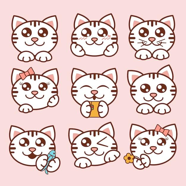 Illustration niedliche katzenikonen gesetzt. süße kätzchenaufkleber im flachen stil. Premium Vektoren