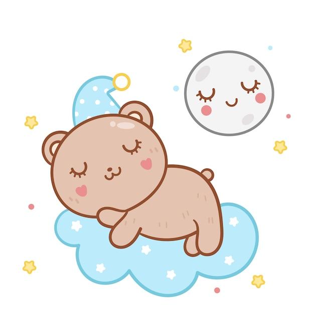 Illustration niedlichen teddybär schlaf mit mond Premium Vektoren