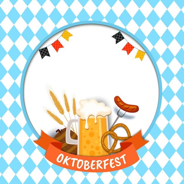 Illustration oktoberfest mit essen und drinkl auf blau Premium Vektoren