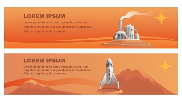 Illustration shuttle technisches gebäude roter planet Premium Vektoren