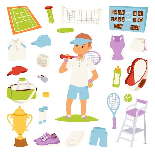 Illustration tennisspieler und spielsymbole Premium Vektoren