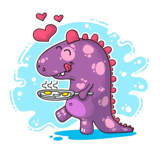 Illustration über dinosaurier in der liebe Premium Vektoren