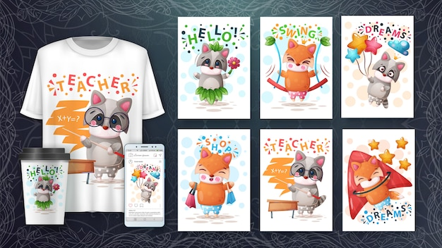 Illustration und merchandising von fox und waschbären Premium Vektoren