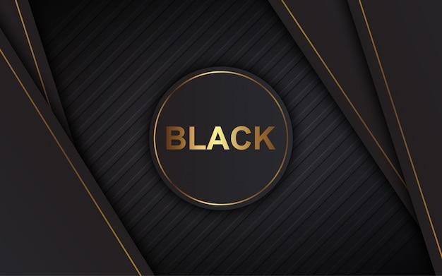 Illustration vektorgrafik des abstrakten hintergrund luxus schwarz überlappen schichten modern Premium Vektoren