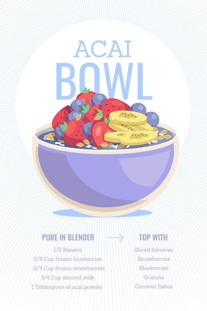 Illustration von acai bowl rezept | Kostenlose Vektor (417 x 626 Pixel)