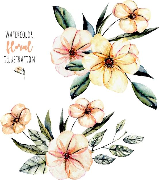Illustration von aquarellrosablumen- und -blattblumensträußen Premium Vektoren
