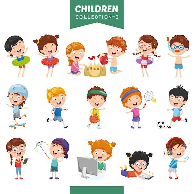 Illustration von cartoon-kindern Premium Vektoren
