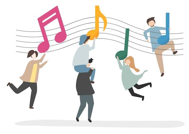 Illustration von Charakteren und von Musiknoten Kostenlose Vektoren