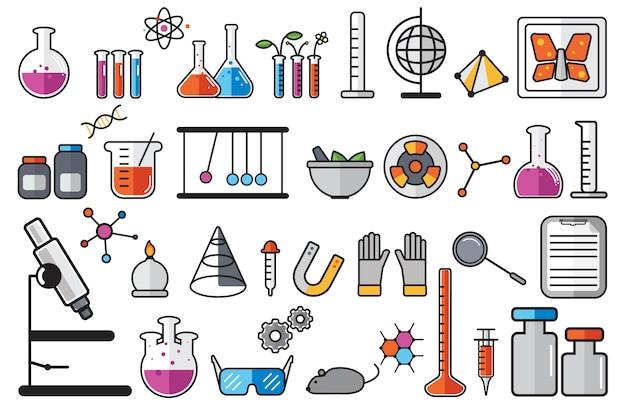 Illustration von chemielaborinstrumenten eingestellt Kostenlosen Vektoren