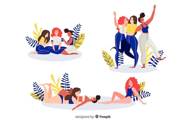 Illustration von den besten freunden, die den spaß zusammen eingestellt haben Kostenlosen Vektoren