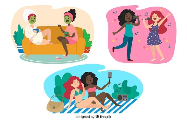 Illustration von den besten freunden, die spaß haben, packen zusammen Kostenlosen Vektoren