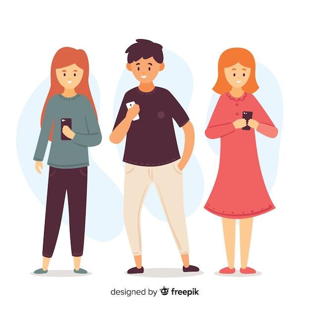 Illustration von den jungen leuten, die ihre smartphones betrachten Kostenlosen Vektoren