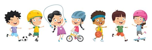 Illustration von den kindern, die sport machen Premium Vektoren