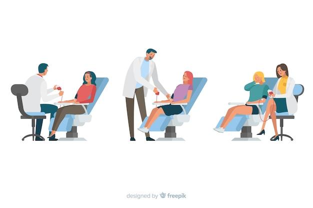 Illustration von den leuten, die blut spenden Kostenlosen Vektoren