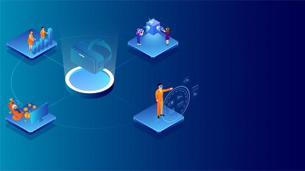 Illustration von den leuten, die unterschiedliches projekt mit analysedaten durch vr-gläser bearbeiten. Premium Vektoren