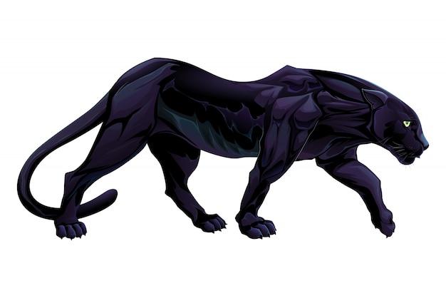 Illustration von einem schwarzen panther vektor isoliert objekt Kostenlosen Vektoren