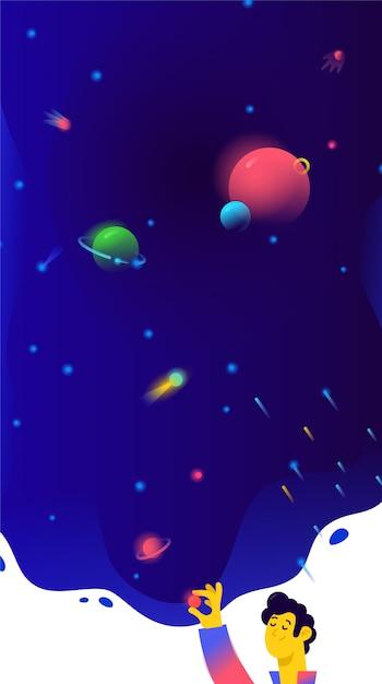 Illustration von freiem raum, planeten und satelliten. Premium Vektoren