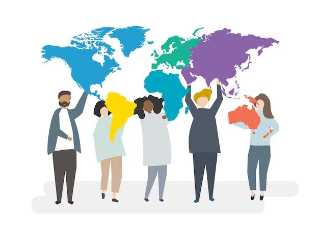 Illustration von gemischtrassigen charakteren mit globalem konzept Kostenlosen Vektoren