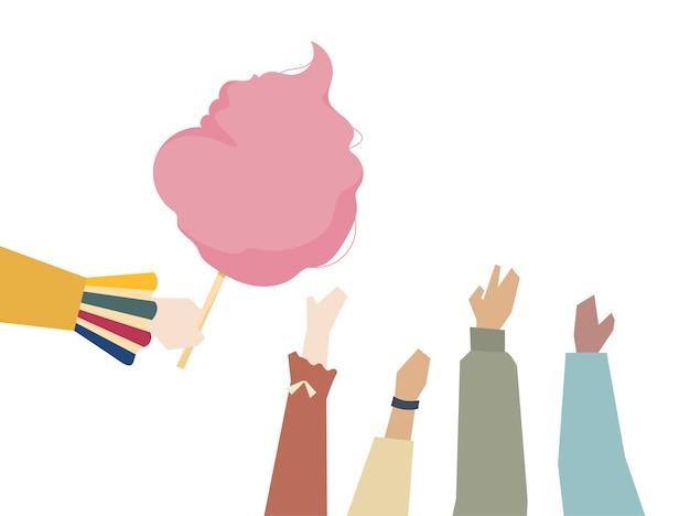 Illustration von händen mit zuckerwatte Kostenlosen Vektoren
