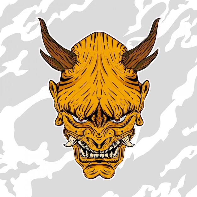 Illustration von hannya, dem traditionellen japanischen dämon oni maske gold Premium Vektoren