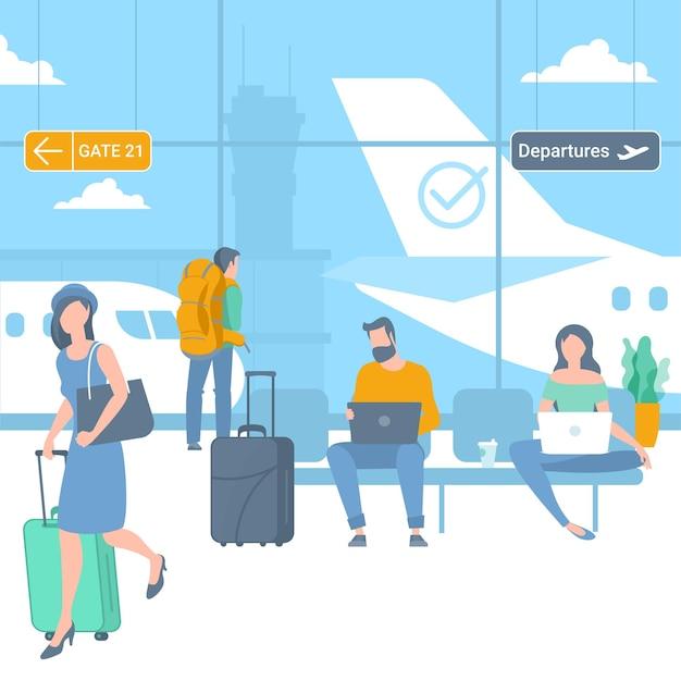 Illustration von jungen mann- und frauenreisenden am flughafenabflugbereich Premium Vektoren