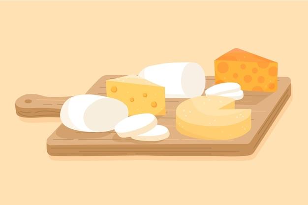 Illustration von käsesorten auf holzbrett Kostenlosen Vektoren