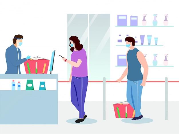 Illustration von käufern, die medizinische maske mit produktkorb vor supermarkt-ladentheke tragen und soziale distanz für vermeiden sie coronavirus halten. Premium Vektoren