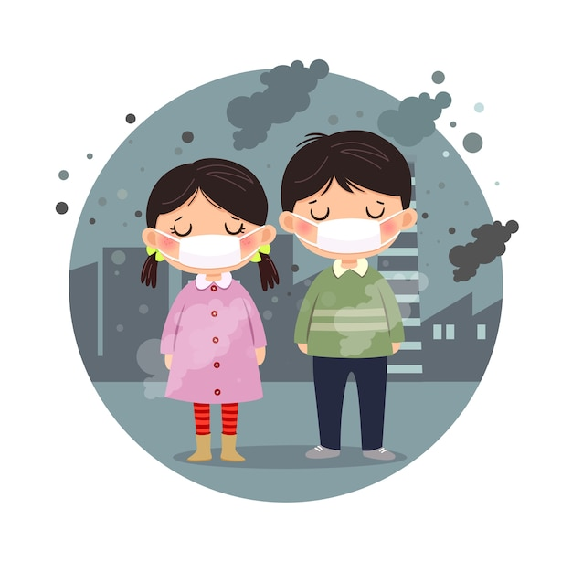 Illustration von kindern, die masken gegen smog in der stadt tragen. feinstaub, luftverschmutzung, industrielles smogschutzkonzept. Premium Vektoren