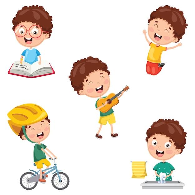 Illustration von kindertagesroutine-tätigkeiten Premium Vektoren