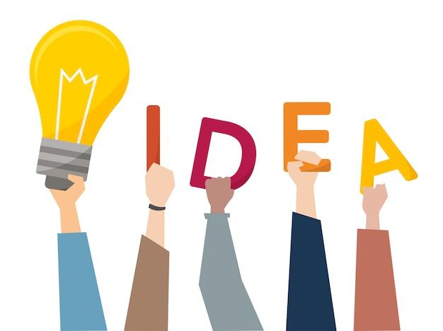 Illustration von kreativen ideen mit ligh birne Kostenlosen Vektoren
