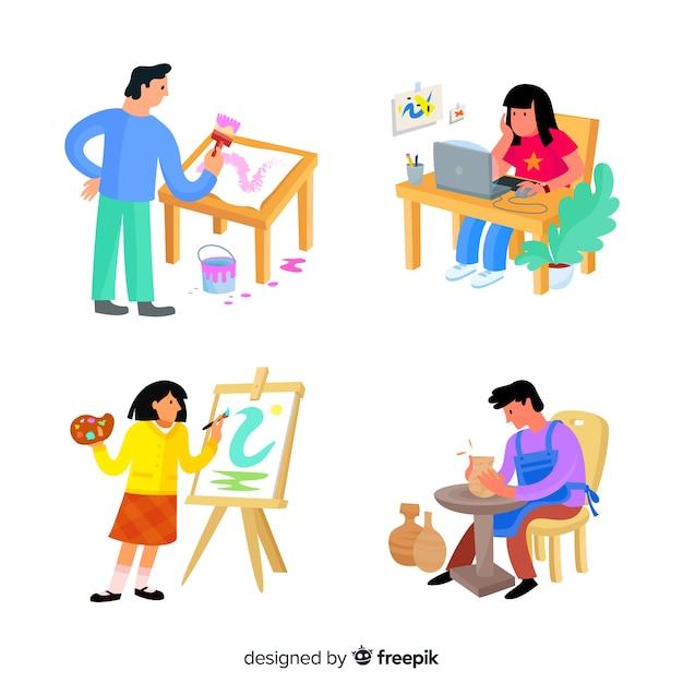 Illustration von künstlern bei der arbeit Kostenlosen Vektoren