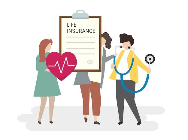 Illustration von leuten mit einer lebensversicherung Kostenlosen Vektoren