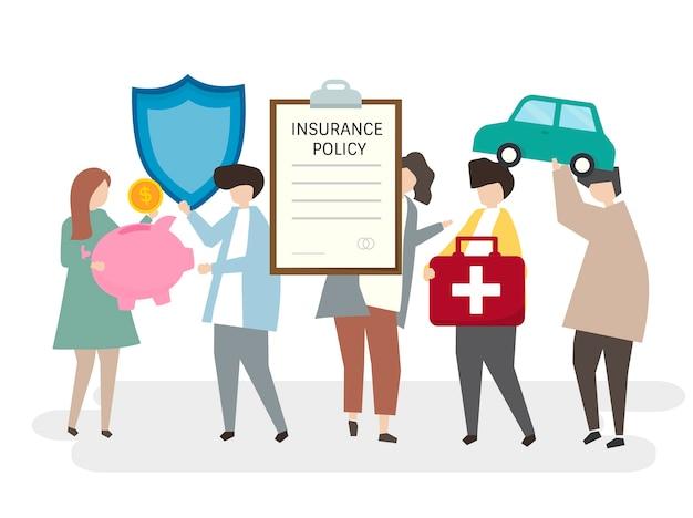 Illustration von leuten mit einer versicherungspolice Kostenlosen Vektoren