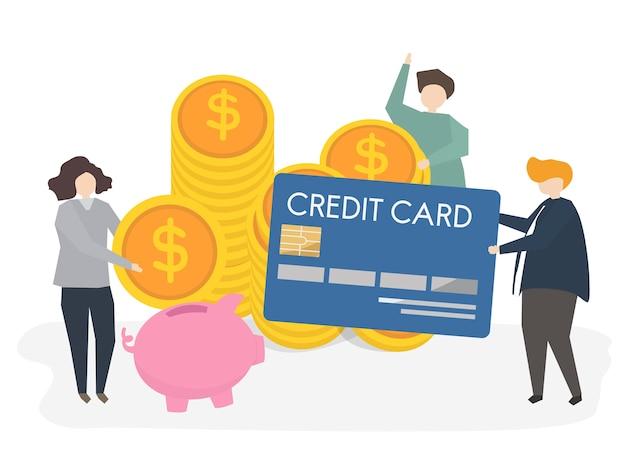 Illustration von leuten mit kreditkarte und geld Kostenlosen Vektoren
