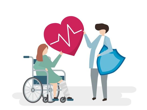 Illustration von leuten mit medizinischem pflegedienst Kostenlosen Vektoren