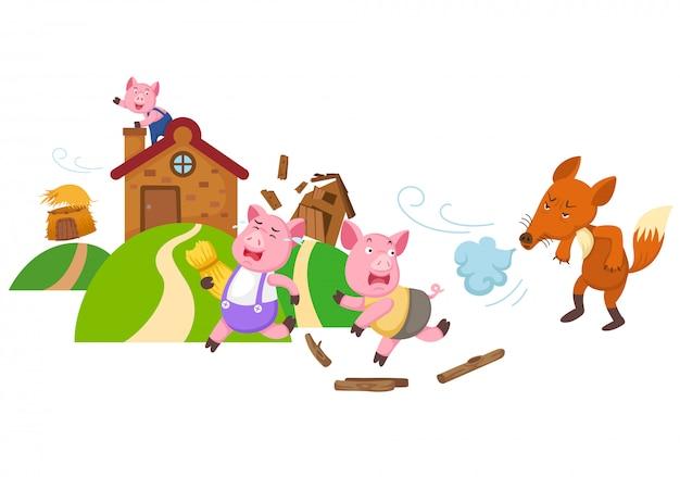 Illustration von lokalisierten kleinen schweinen der märchen drei Premium Vektoren