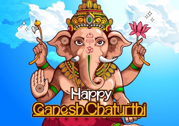 Illustration von lord ganesha von indien für traditionelles hinduistisches fest, ganesha chaturthi. Premium Vektoren