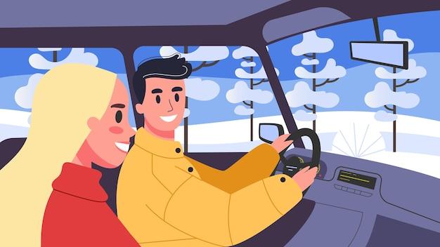 Illustration von menschen in ihren autos. männlicher charakter, der mit seiner frau ein auto fährt. familienausflug, mann und frau unterwegs. Premium Vektoren