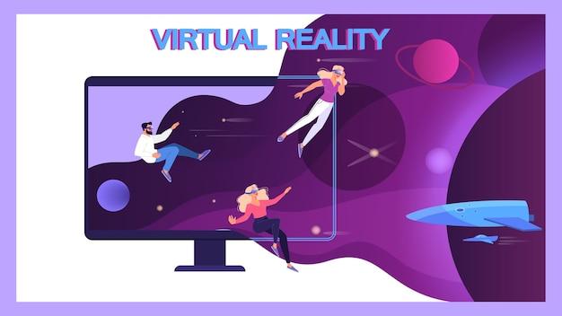 Illustration von menschen mit einer brille der virtuellen realität. konzept der vr-technologie für bildung und spielsimulation. futuristische art der unterhaltung. Premium Vektoren