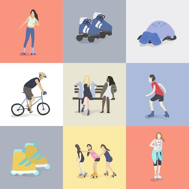Illustration von menschlichen hobbys und von aktivitäten Kostenlosen Vektoren