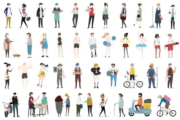 Illustration von menschlichen hobbys und von aktivitäten Premium Vektoren